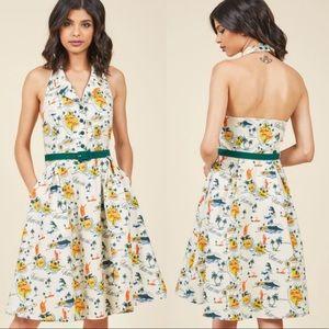 ModCloth Hawaii Island print halter dress